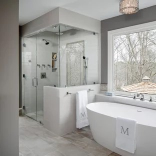 Most Popular Bathroom Design Ideas   Remodeling Pictures   Houzz Inspiration for a large transitional master gray tile and ceramic tile  porcelain floor and gray floor