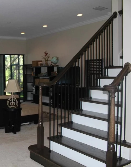 Staircase Flooring Match Stain On Staircase Or What Other Options | Flooring For Stairs Not Carpet | Stair Tread | Stain | Staircase Makeover | Bullnose Carpet | Laminate Flooring