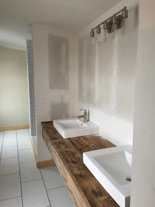 Storage Ideas For A Floating Reclaimed Wood Vanity