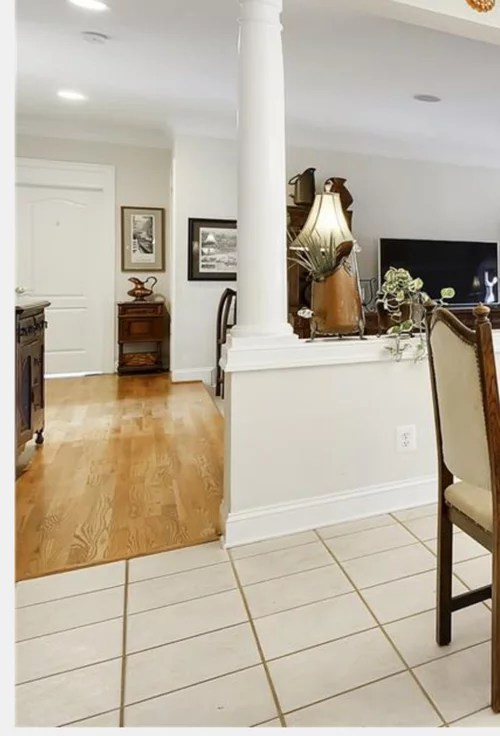 contrasting wood floors next to each other