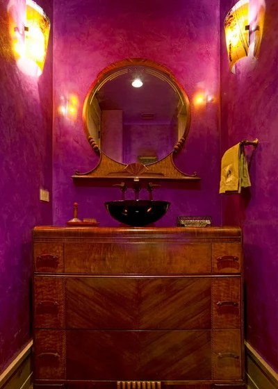 Eclectic Powder Room by Amaron Folkestad GC Steamboats Builder