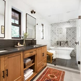 75 Beautiful Black And White Tile Bathroom Pictures ... on Bathroom Ideas With Black Granite Countertops  id=79185
