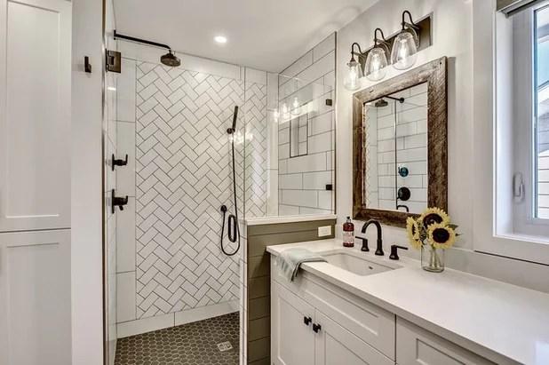 A Modern Farmhouse Bath for a Couple's Forever Home on Modern Farmhouse Shower  id=28555