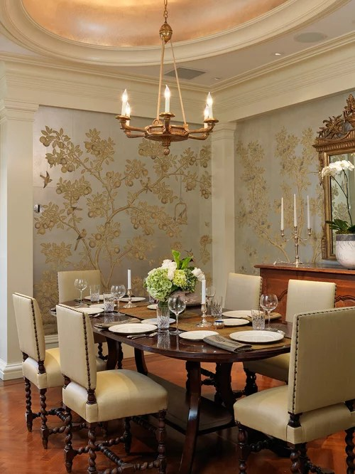 Dining Room Wallpaper Home Design Ideas, Renovations & Photos on Traditional Kitchen Wall Decor  id=97430