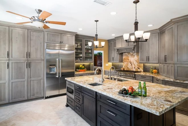 Transitional Kitchen by Sea Pointe Construction