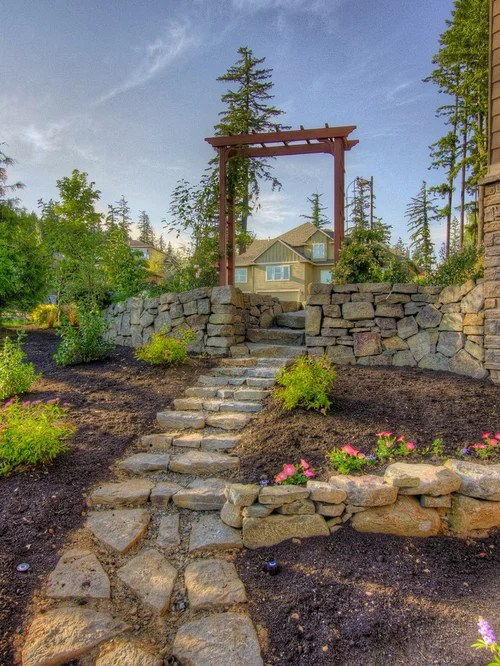 Sloping Side Yard Home Design Ideas, Pictures, Remodel and ... on Sloped Yard Ideas id=33869