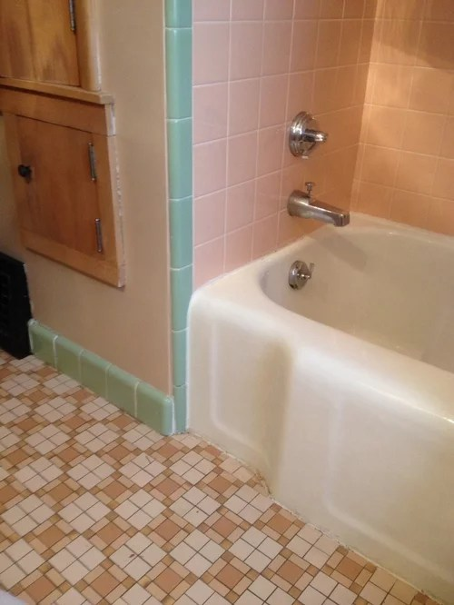 help pink and mint green bathroom tile