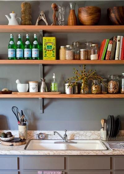 Shabby-chic Style Kitchen Open kitchen shelves