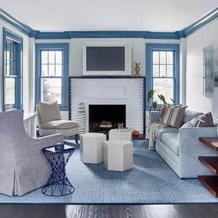 Blue Living Room Design Ideas   Remodeling Pictures   Houzz Inspiration for a large beach style formal and enclosed dark wood floor and  brown floor living