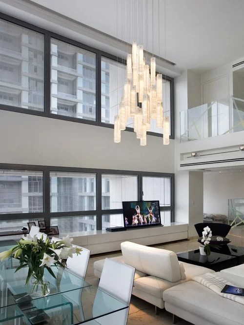 Contemporary Living Room Chandelier Modern Two Story Great