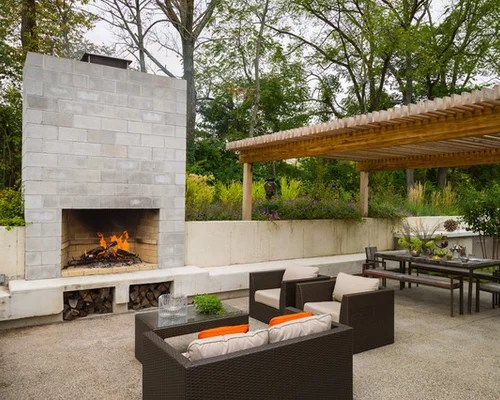 Concrete Block Fireplace Home Design Ideas, Pictures ... on Building Outdoor Fireplace With Cinder Block id=50119