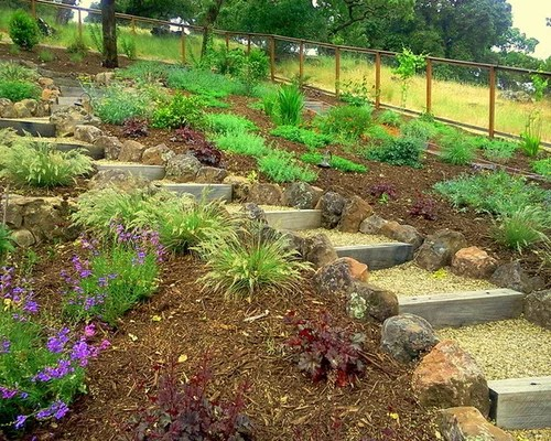 Railroad Tie Steps | Houzz on Uphill Backyard Ideas  id=17967