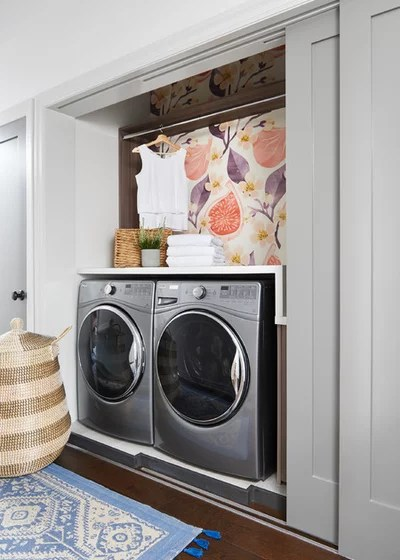 Transitional Laundry Room by Carriage Lane Design-Build Inc.
