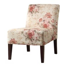 Chic Off White Base With Soft Pink Floral Fabric Accent Chair