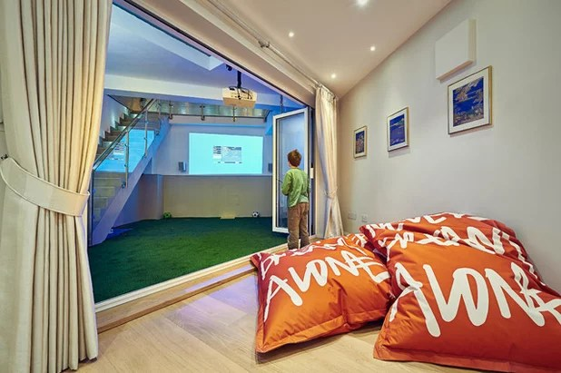 Contemporary Home Theater by Mia Karlsson Interior Design