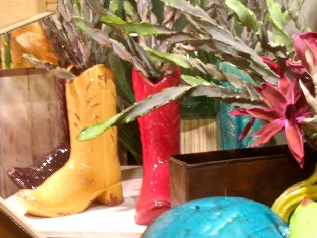 Glass Cowboy Boot Vases