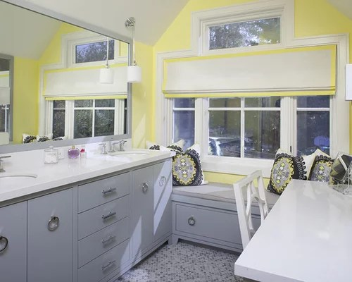 gray and yellow bathroom ideas | houzz