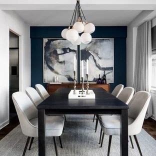 75 Most Popular Contemporary Dining Room Design Ideas for 2018     Example of a small trendy dark wood floor enclosed dining room design in  New York with