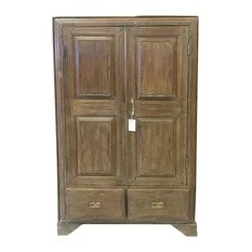 Mogul Interior - Consigned British Colonial Teak Almirah Rustic Old Wood Armoire Cabinet - A true rustic  Armoire from a village just outside of Rajasthan, India.