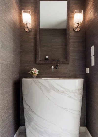 Scandinavian Powder Room by Jillian Aimis Architect