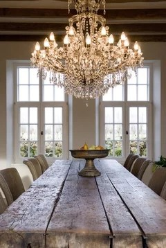 Hi You Can Hang A Crystal Chandelier Above Rustic Table Why Not But Don T Have To Match Lights Just Show How Well Goes With
