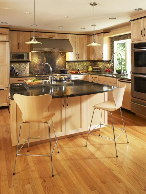 Maple Cabinets With Oak Floors | Houzz on Kitchen Countertops With Maple Cabinets  id=65859