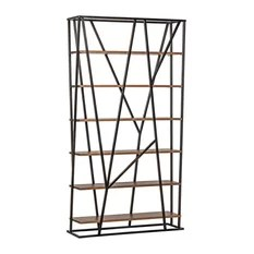 Noir Pole Bookcase Walnut and Metal