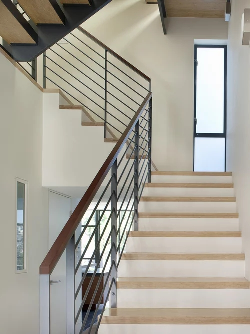 Horizontal Stair Railing Trendy Or Timeless | Wood And Metal Stair Railing | Outdoor | Modern | Newel Post | Basement | Contemporary