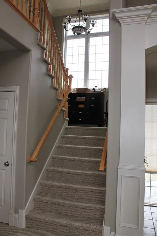 Advice Needed On Wood Or Carpet For Staircase Landing | Hall Stairs And Landing Carpet | Stair Landing 1028 1028 | Staircase | Grey | White | Pinstripe Grey