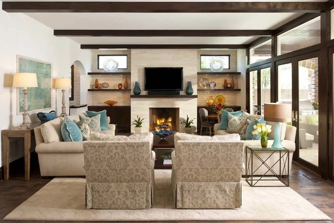 Transitional Family Room by Ellen Grasso & Sons, LLC