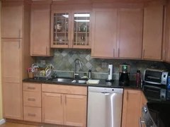 Show me your stained cabinets with contrasting countertop! on Natural Maple Cabinets With Black Granite Countertops  id=74162