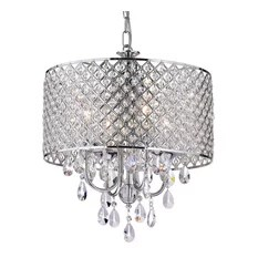1st Avenue Norma Jean Round Drum Shade Crystal Chandelier Chrome Chandeliers