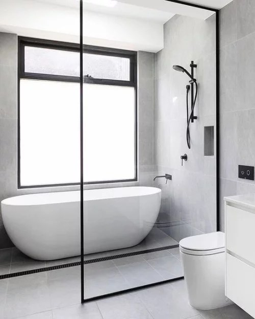 Wetroom shower with freestanding tub - Are the tubs tilted ... on Wet Room With Freestanding Tub  id=88956