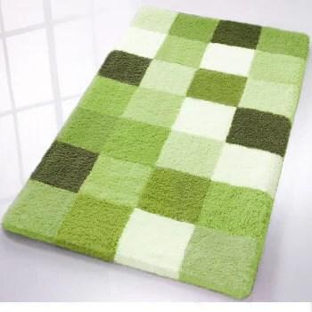 Caro Checkered Bath Rugs From Vita Futura Mats Lime Green