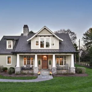75 Craftsman Exterior Home Design Ideas   Stylish Craftsman Exterior     Example of an arts and crafts gray two story brick gable roof design in  Other