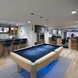 Free Online Floor Plans Basement Ideas   Photos   Houzz Example of a large trendy light wood floor and beige floor basement design  in DC Metro