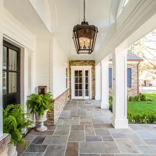 75 Beautiful Stone Front Porch Pictures Ideas August 2020 Houzz | Stone Front Porch Steps Designs | House | Stained Concrete | Round | Stone Walkway | Flagstone