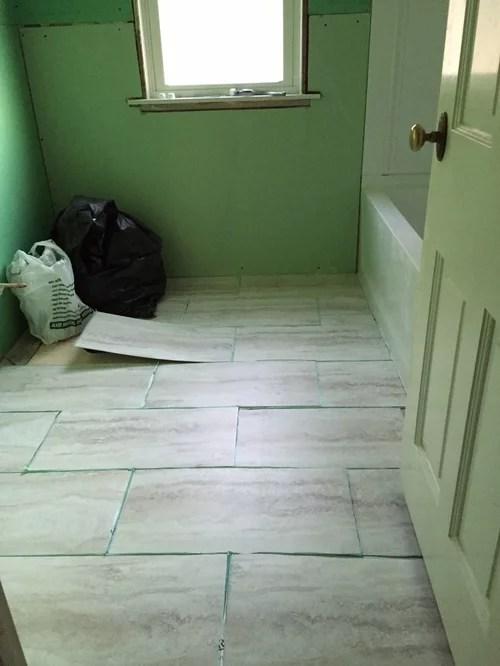 12x24 vinyl tiles in our bathroom