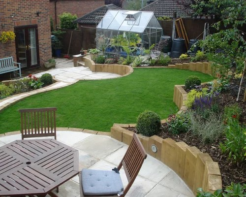 Multi Level Garden   Houzz on Patio Ideas For Sloping Gardens id=23096