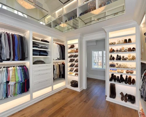 Large Transitional Gender Neutral Medium Tone Wood Floor And Brown Walk In Closet