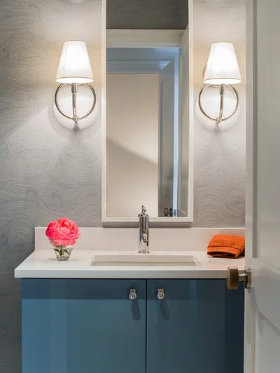 Scandinavian Powder Room by Elms Interior Design