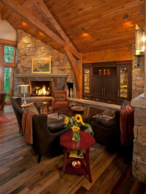 Corner Stone Fireplace Home Design Ideas Pictures