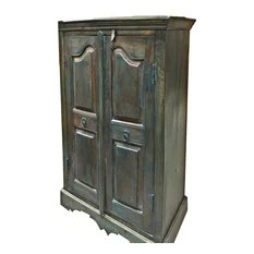 Mogul Interior - Consigned Armoire Storage Teak Wood Britsh Colonial Cabinet - A true Armoire from a village just outside of Rajasthan, India.