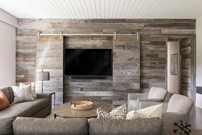 Farmhouse Family Room by Samsel Architects