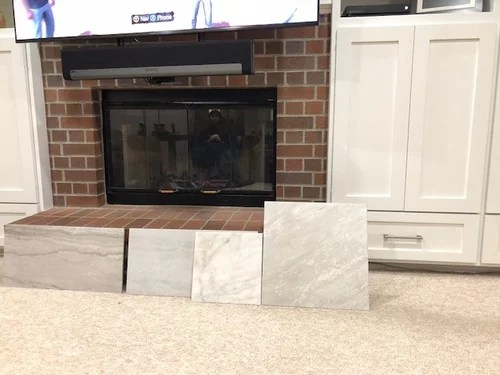 refacing red brick fireplace which