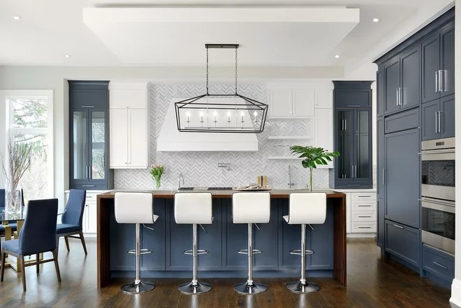 Transitional Kitchen by Evelyn Eshun Interior Design