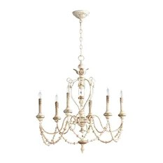 Flo White Washed French Country Beaded Swag 6 Light Chandelier Chandeliers
