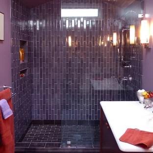purple ceramic tile bathroom