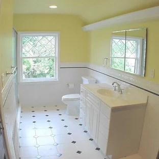 white octagon black dot floor tile houzz