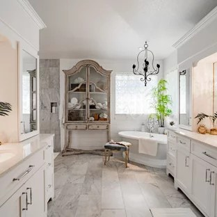 french country gray tile bathroom